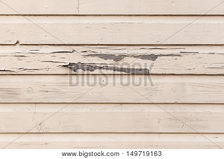 Old Biege Wooden Wall With Peeling Paint Layer
