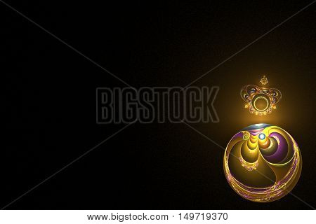 fractal golden ball with color patterns and color crown on him and the yellow glow in the lower right corner of the image on a black background.