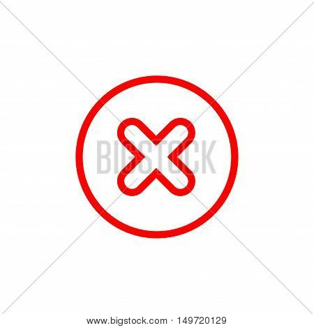 Cross sign element. Red X icon isolated on white background. Simple mark graphic design. Round button for vote decision web. Symbol of error check wrong or stop failed. Vector illustration