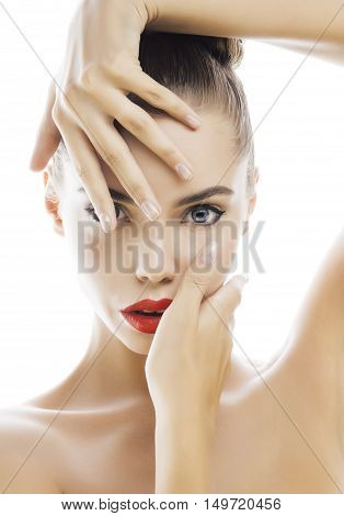 young stylish woman with fashion make up and hairstyle isolated on white posing red lipstick elegant spa close up, mani pedi