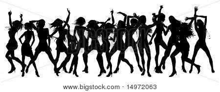 Silhouettes of sexy beautiful women dancing in a group poster