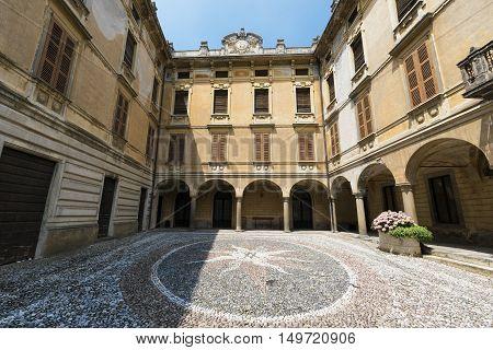 RIVA DI SOLTO, ITALY - JULY 2, 2016: Riva di Solto (Bergamo Lombardy Italy) historic village along the lake of Iseo. Palace.