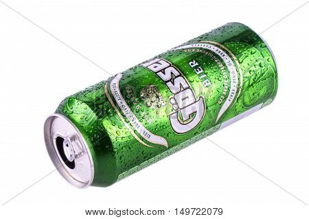 Petropavlovsk-Kamchatsky Russia-24 September 2016: opened Heineken Lager Beer is the flagship product of Heineken International which owns over 125 breweries in more than 70 countries