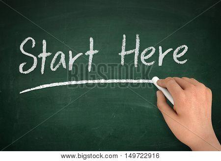 start here chalkboard hand write 3d illustration