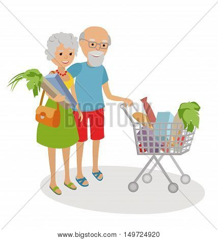 Senior woman and man shopping for groceries. Vector illustration