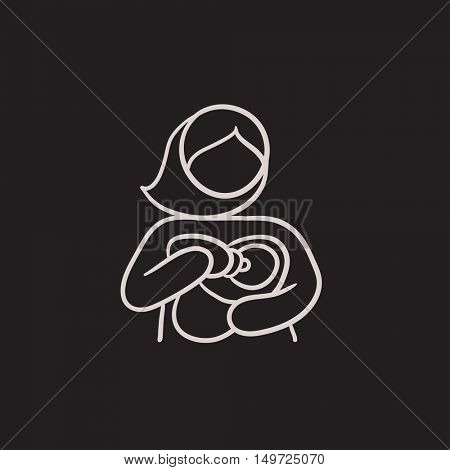 Woman nursing baby vector sketch icon isolated on background. Hand drawn Woman nursing baby icon. Woman nursing baby sketch icon for infographic, website or app.
