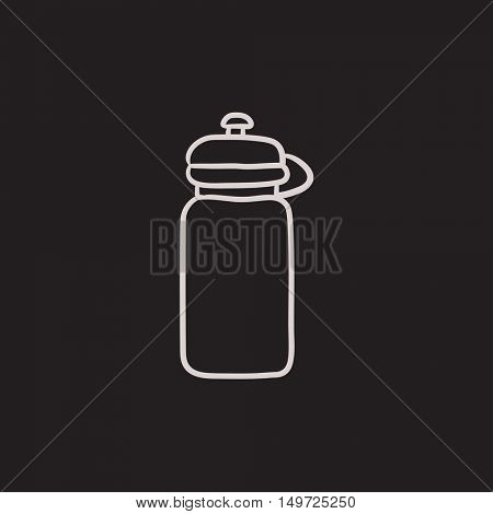 Sport water bottle vector sketch icon isolated on background. Hand drawn Sport water bottle icon. Sport water bottle sketch icon for infographic, website or app.