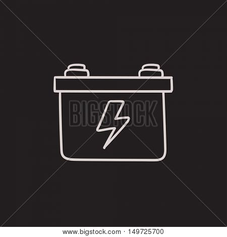 Car battery vector sketch icon isolated on background. Hand drawn Car battery icon. Car battery sketch icon for infographic, website or app.