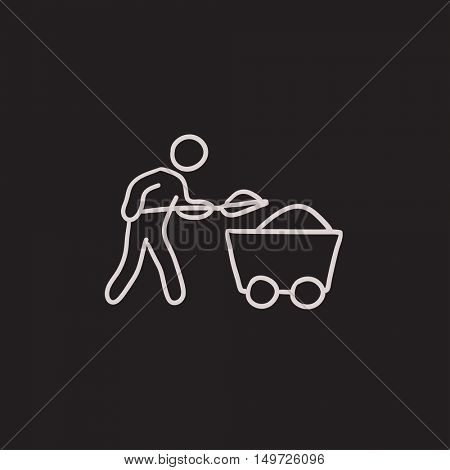 Mining worker with trolley vector sketch icon isolated on background. Hand drawn Mining worker with trolley icon. Mining worker with trolley sketch icon for infographic, website or app.