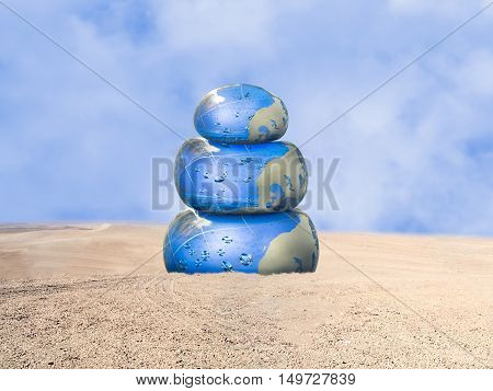 Cairn filled with water in the middle of the desert sand. Concept thirst drought water balance