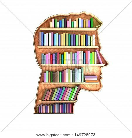 Head shaped library containing books on shelves. Brain concept. Informations are stored and organized. 3D Rendering