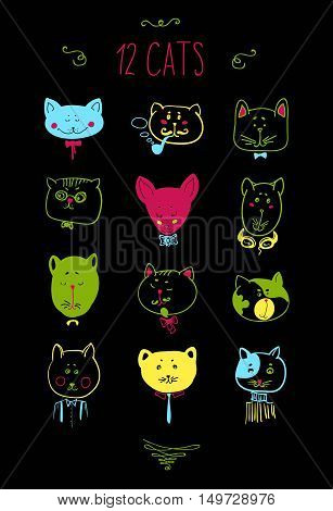 Set of cats heads. Face kitten, whiskers and ears, muzzle and wool. Vector illustration