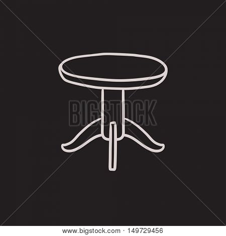 Round table vector sketch icon isolated on background. Hand drawn Round table icon. Round table sketch icon for infographic, website or app.