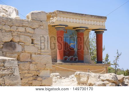 Knossos palace Crete island Greece. Detail of ancient ruins of famous Minoan palace of Knosos