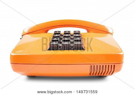 Orange phone with shadow on white background up side wide angle