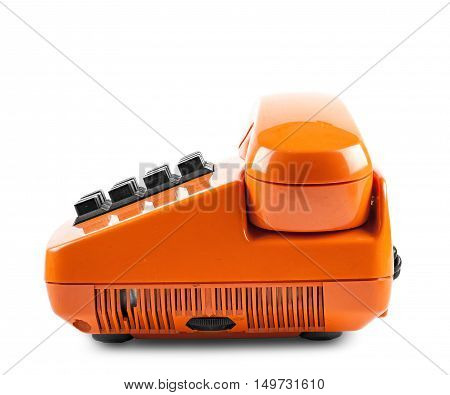 Orange phone with shadow on white background side