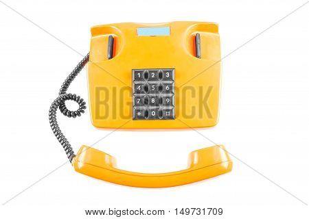 Orange phone with shadow on white background