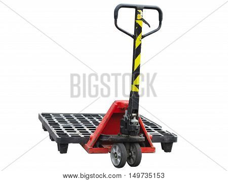Old cargo baggage trolley isolated on white background.