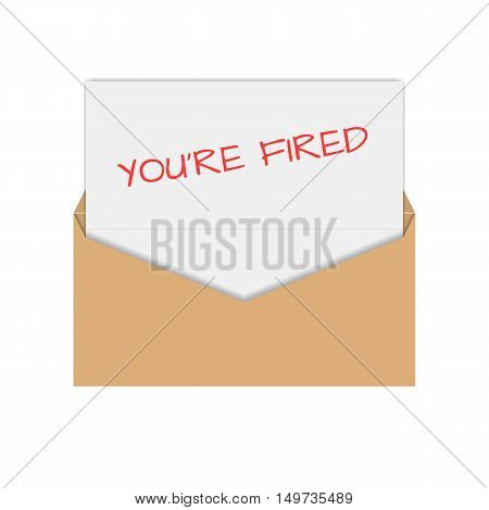 Realistic envelope of yellow paper with a letter notice you are fired flat icon vector illustration. poster