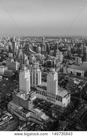 Black and White, Top view Bangkok city business downtown skyline