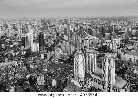 Black and White, Aerial view Bangkok city business area downtown, cityscape background