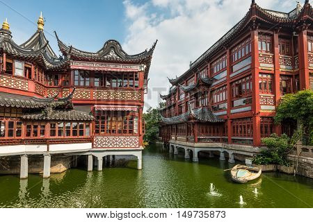 Garden of Happiness (Yuyuan Garden) Shanghai's landmark with heritage building architecture Shanghai China