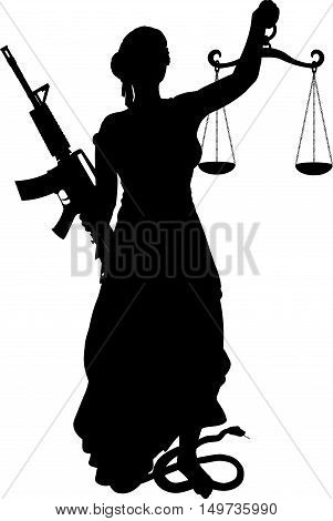 concept of modern symbol of Themis with scales, blindfolded and assault rifle