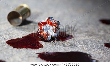 Expanded hollow point bullet and brass with blood on concrete