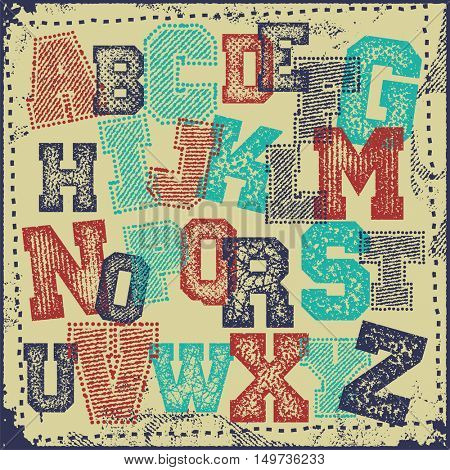 Colorful letters and numbers. Vintage grunge alphabet vector set
