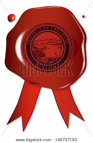 A wax seal with a the state seal of Alaska