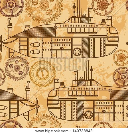 Vintage seamless pattern with submarine and machine gears. Vector illustration in steampunk style.
