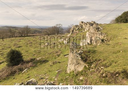 An image of a hillside outcrop situated at Beacon Hill Country Park, Leicestershire, England, UK.