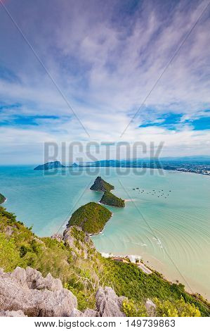 Aerial view natural seascape with small island over the ocean, natural landscape background