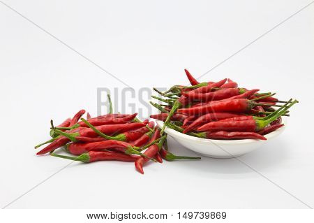 Red hot chilli on white background, organic spice nutrition food