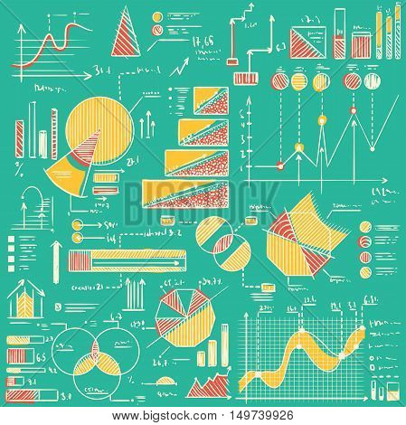 Business charts, graphs, stats doodles set. Hand drawn vector illustration