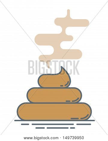 Vector stinky poop pile. Modern outline style illustration. Isolated on white background.