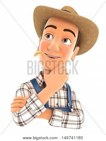 3d farmer thinking with hand on chin illustration with isolated white background