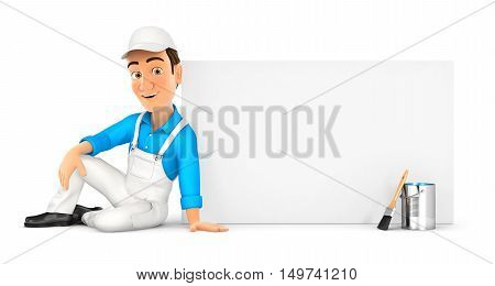 3d painter sitting next to blank wall illustration with isolated white background