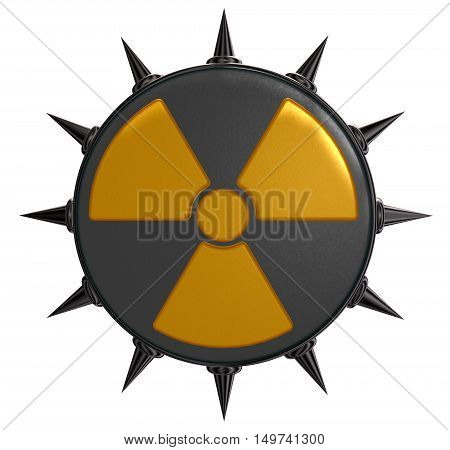 nuclear symbol with prickles on white background - 3d illustration