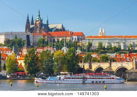 Prague, Czech Republic, September 20, 2011: View Onto Prague Castle From Charles Bridge Over Vltava