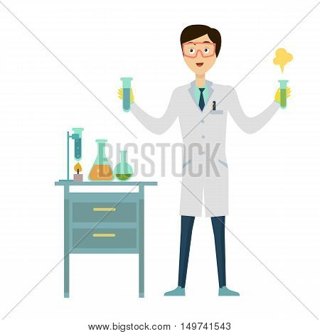 Chemistry banner concept flat style. Scientist chemist in a laboratory flask in hands holds a science experiment isolated on a white background.