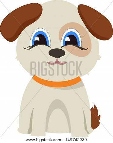 Funny dog. A series of cute animals in a cartoon style isolated on white background