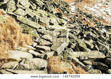 Big stones Chopok Low Tatras Slovak republic. Beauty in nature. Hiking theme.