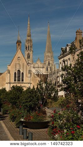 The historical center of Chartres city and Notre Dame cathedral in the background Eure et Loire France.
