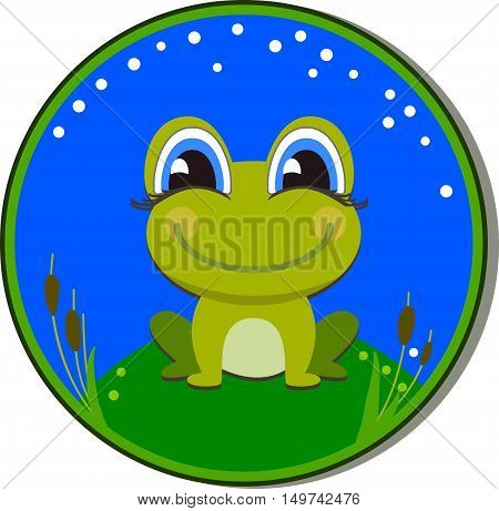 Sticker with a funny frog on the white background. Frog cartoon sitting