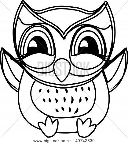 Coloring book owl . Cute sitting Owl. black and white vector illustration
