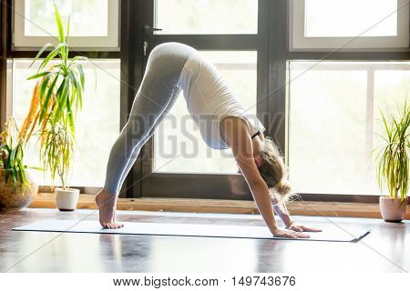 Full length portrait of attractive young woman working out at home in living room, doing yoga exercise on blue mat, downward facing dog pose, adho mukha svanasana sun salutation pose , side view