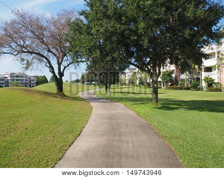 macadam path or walkway by a golf course and trees