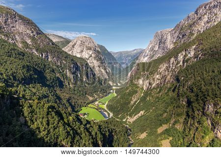 Naeroydalen valley view from Staleheim viewpoint Norway