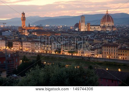 Florence skyline at sunset from Piazzale Michelangelo